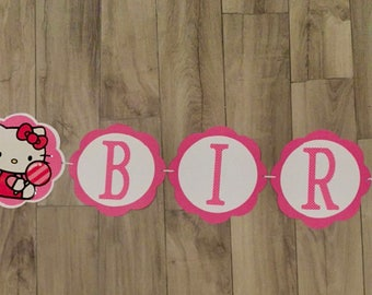 Hello Kitty Banner, Hello Kitty Birthday Banner, Hello Kitty Happy Birthday Banner, Hello Kitty