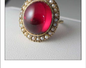 Antique Art deco 10k Ruby Seed Pearl Halo Ring