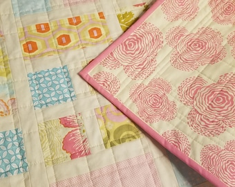 Amy Butler Midwest Modern Floral Quilt in Pinks, Yellows and Blues for baby girl, toddler or adult