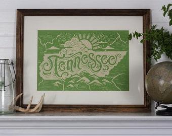 Tennessee State - 12.5 x 19 Block Print
