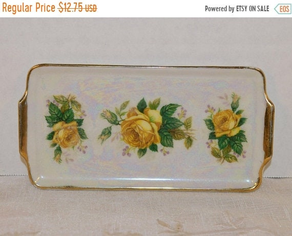 Delayed Shipping Bon Bon Tray Yellow Rose Vintage Mothers Day Gift for Her Wedding Gift Japan Floral Double Handled Small Serving Tray Opale