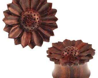 Dark brown Sonoholz plug Daisy tribal textured organic Expander (No. HPT-280)