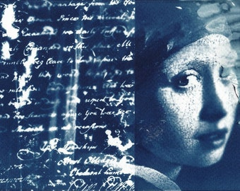 Dialogue with Vermeer, Cyanotype, Photography, Collage, Vintage, Art Print, Wall Art, Wall Decor, Art, A4 size FREE INTERNATIONAL SHIPPING