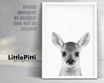 Baby deer print, modern minimalist nursery, woodlands baby deer fawn, fawn print, forest animals print, nursery digital print, gray nursery