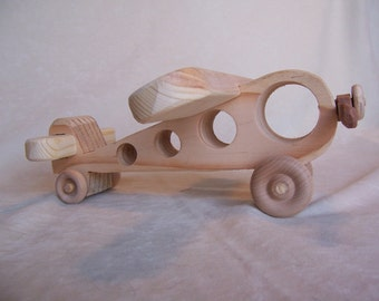Toy Passenger Plane for Children, Little Kids, Boys, Girls, Handcrafted from Reclaimed Wood