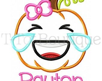 SAMPLE SALE - Cry Eyes LOL Emoji Pumpkin Embroidered Shirt Halloween Shirt - Free Personalization
