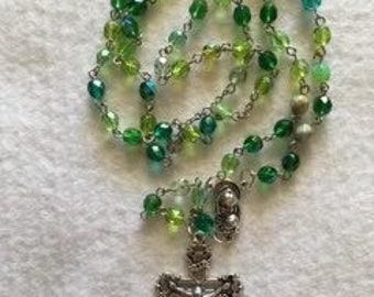 Green Czech Glass Rosary