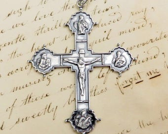 Four Evangelists Crucifix - Sterling Silver Antique Replica
