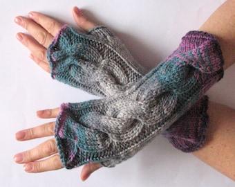 Fingerless Gloves wrist warmers Violet Purple Blue Burgundy Gray Green knit