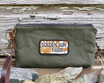 Vintage Military Canvas Clutch | Vintage Golden Sun Feeds Patch | Canvas Pouch | Canvas Wristlet