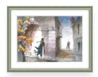 Violinist, WonderfulWatercolor,Amazing watercolor, easel watercolor,drawing watercolor,, recognized master,Original painting, Victor Zelik