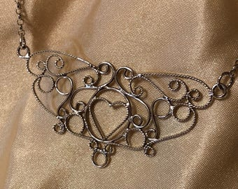 """Beautiful silver filigree necklace  approximately 16"""" long"""