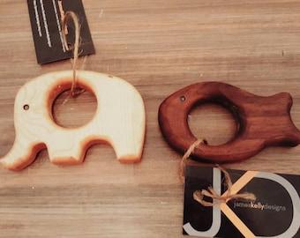 Hardwood teether rings