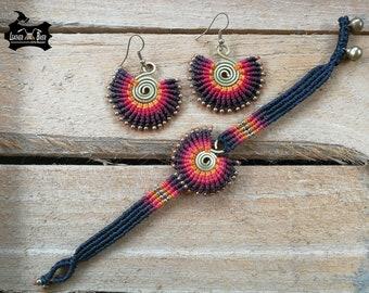 Handmade  Wax Cord Bracelet Set Bohemian Braided Bracelet Set Drop Dangle Earrings for Women Red Black