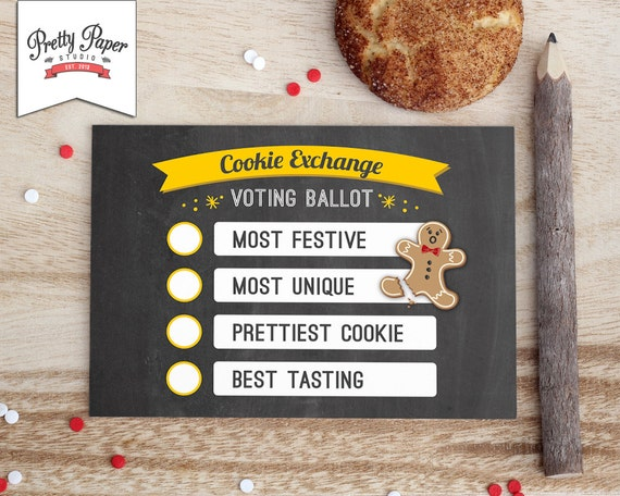 Items similar to Holiday Cookie Exchange Voting Ballots // INSTANT ...
