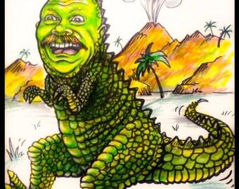 Custom Caricature, dinosaur, t-Rex, caricature, animal caricature, dinosaur caricature, kids caricature, kid decor