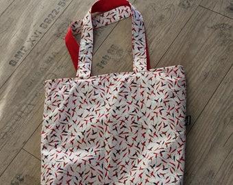 reversible shoulder bag pepper chillipepper shoppingbag beachbag sportsbag yogabag schoolbag tote shopper bag spicy red green pepper