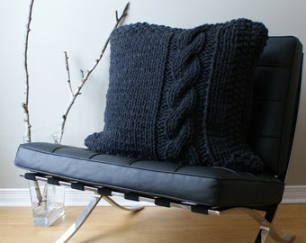 """DIY Knitting PATTERN - Chunky Cable Knit Pillow Cover Approximately 27"""" x 27"""" (pillow002)"""