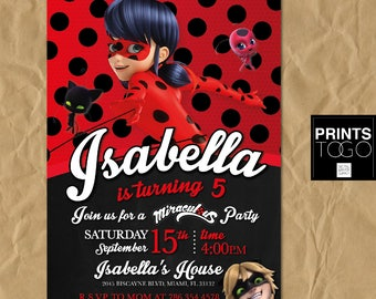 Miraculous Ladybug Invitation, Digital Printable Invite, Miraculous Ladybug Birthday Party, Customizable Card, Girl Birthday, Chat Noir