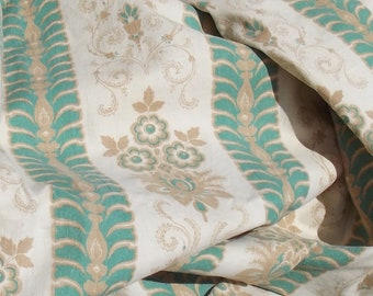 Vintage French Cotton Fabric 1920s Arabesque Green and Gold Fabric