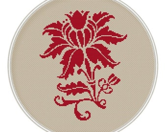 Red Flower cross stitch pattern, cross stitch chart, cross stitch PDF, Vintage, MCS011