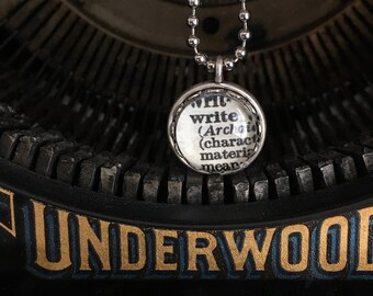 """Dictionary """"Write"""" Necklace. Gift for Writers."""