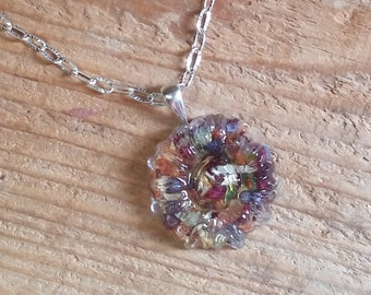 Crystal Clear Pendant or Necklace with Embedded Dried Flowers and Leaves w/ or w/o Sterling Silver Chain - ZINNIA FLOWER