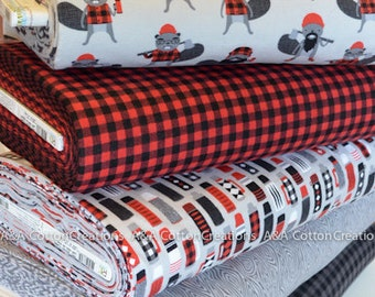 Flannel Fabric, Burly Beavers Flannel Bundle of 5, Hipster fabric, Red Black Plaid, Boy Fabric, Robert Kaufman Fabrics