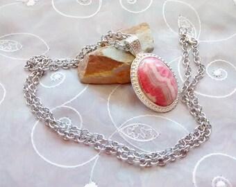Gemstone Drop Pendant Necklace, Rhodochrosite Cabochon Necklace, Pink Gemstone Necklace, Pendant Necklace, Gemstone Necklace