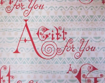 Vintage Wrapping Paper - A gift for you - Happy Birthday Gift Wrap - One unused sheet