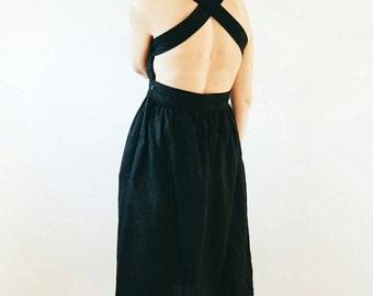Linen Dress - Linen Apron Dress - Black Linen Dress - Apron - Black Linen Apron - Black Linen Dress - Apron Dress - Handmade by OFFON