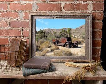 Vintage Truck Photo, Abandoned Truck, Rusty Truck, Desert, Rustic Industrial, Industrial Decor, Rustic Decor, Instant Download, Printable