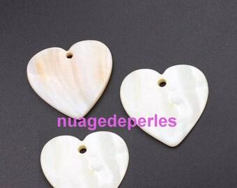 3 mother of Pearl Heart Pendants