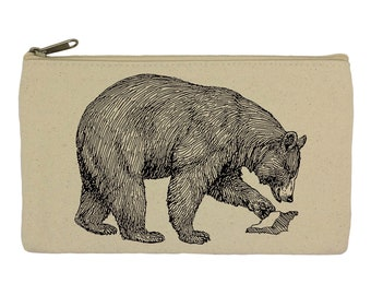 Pencil case/ stationary/ bear/ pencil pouch/ canvas bag/ pencil holder/ make up bag/ school supplies/ gift for women/ gift for her