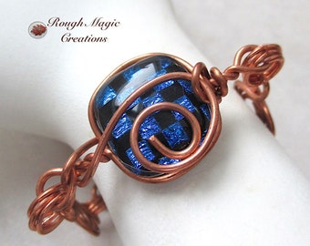Art Glass Bracelet, Blue Black Dichroic Fused Glass, Copper Wire Wrapped, Checkerboard Glass, Handcrafted Copper Chain, Toggle Clasp B166
