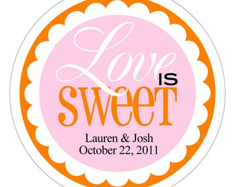 Love is Sweet Stickers, Love is Sweet Tags, Personalized Wedding Labels