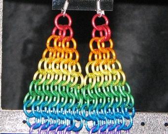 Rainbow Drop Earrings in Chain Mail
