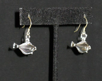 Sterling Silver Gone Fishin' Shepherd Hook Earrings