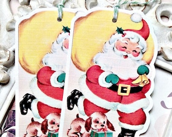 Santa with Pup Gift Tag (6) Christmas Favor Tag-Holiday Tags-Santa Embellishment-Christmas Gift Tags-Santa Treat Tag-Santa Die Cut-Retro Tag