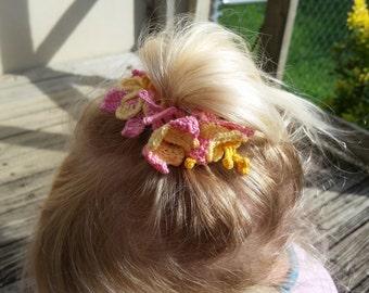 crochet hair clips, Irish crochet flower barrettes, spring flower girl hair soft scultpture, bun decoration, gift for her