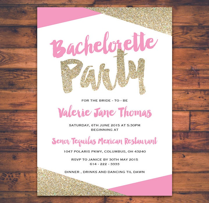 DIGITAL PRINT Bachelorette Party Invitation Card Bride To Be