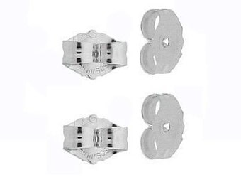 4 14K White Gold Earring Backs Ear Post Nuts Deluxe