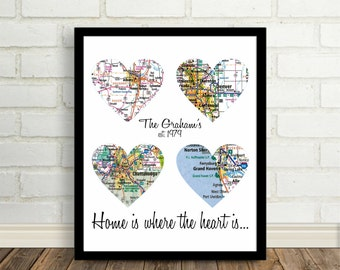 Home is Where The Heart Is Family Map Art Print Personalized Map Art Any Location Worldwide Family Art Print Personalized Christmas Gift