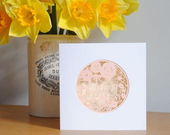 Pretty Mum card – floral Mum card – Papercut Mother's Day card – card for Mum – card for Mother – Mum birthday card