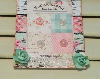Shabby Birthday Card, Button Card, Vintage Style, Handmade Card, Embellished Card,Greeting Card, OOAK