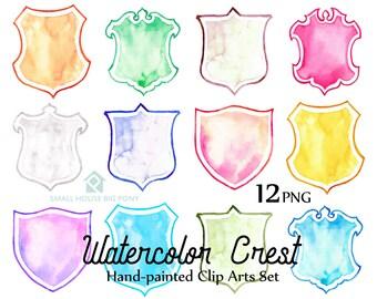 Digital Clipart- Crest Clipart,Shield Clip art, Clipart, wedding invitation clip art- 12 watercolor crest design