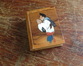 French Handpainted Wood Treen Case ~ Match Holder Strike Box ~ Artist
