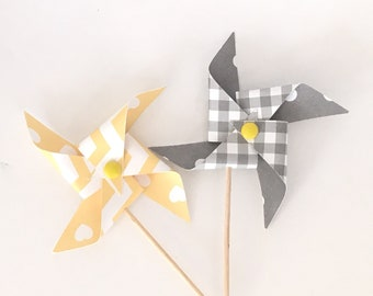 Yellow and Gray Cupcake Pinwheels Bridal Shower Wedding Baby Shower Decor