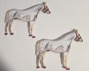 "Embroidered WHITE STANDING HORSE Iron-on/Sew on Patch Badge Applique 2 1/2"" set of 2"