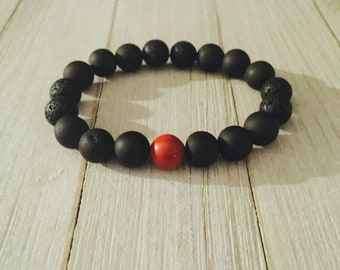 Red Jasper w/ Black Druzy Agate Bracelet